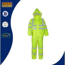Hi Vis Traje impermeable de la lluvia de la prueba impermeable / desgaste de la lluvia