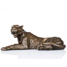 Animal Salvaje De Tamaño Pequeño Hecho A Mano Estatua De Escultura De Bronce De Leopardo Tpal-064
