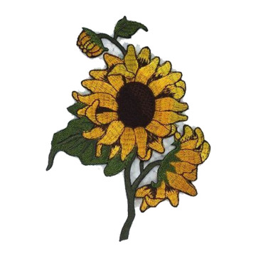 Sunflower Flower DIY Embroidered Sew on Patch