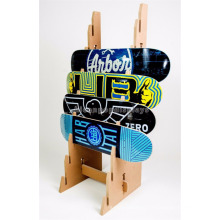 Sports Products Retail Shops Freestanding Eight Vertical Slots Wood Deck Skateboard Display Stand
