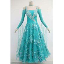 Green long sleeves ballroom dresses for sale
