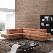 Modular Orange Leather Corner Sofas In Steel