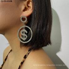 Exaggerated Personality Dollar Rhinestone Earrings Female Fashion Fashion Alloy Jewelry