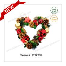 28 * 27 * 7cm Fleur artificielle en plastique en forme de coeur Couronne de Noël Ornement de Noël