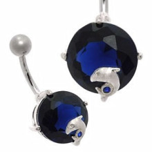 Large Jewel Silver & Steel Belly Bar Blue Dolphin