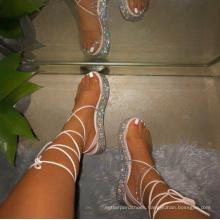 sparkle fabric low wedge PU strap fashion trendy stylish women sandal new arrivals cheap sandals