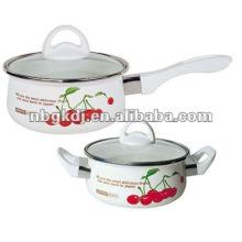 Emaille-Kochgeschirr-Sets mit Bakelitgriff und Glasdeckel