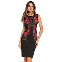 Stylish sex fashion black color lace back zipper embroidered floral women dress