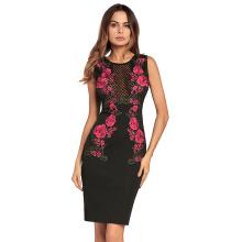 Moda sexo moda cor preta de renda de volta com zíper bordado floral mulheres vestido