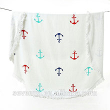Nautical Sail Anchor Round Beach Towel BT-430 China Supplier
