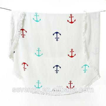 Nautical Sail Anchor Round Beach Towel BT-430 China Supplier