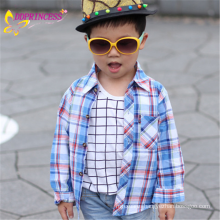 china new design long sleeve comfortable plaid shirt for baby boy