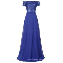 Kate Kasin manga corta sexy fuera del vestido de noche azul largo del baile de fin de curso del vestido de noche de la gasa de los cequis del hombro 7 Tamaño US 4 ~ 16 KK001062-1