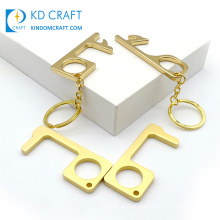 Brass Contactless Anti Virus Key Chain Antimicrobial Hygienic Hands Free Bottle Tool EDC No Touch Door Opener with Keychain
