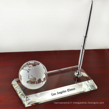 porte-stylo en cristal avec cristal 3D mappemonde pour la décoration de bureau