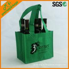 Eco-friendly verde 6 garrafa não tecido saco de transporte de vinho