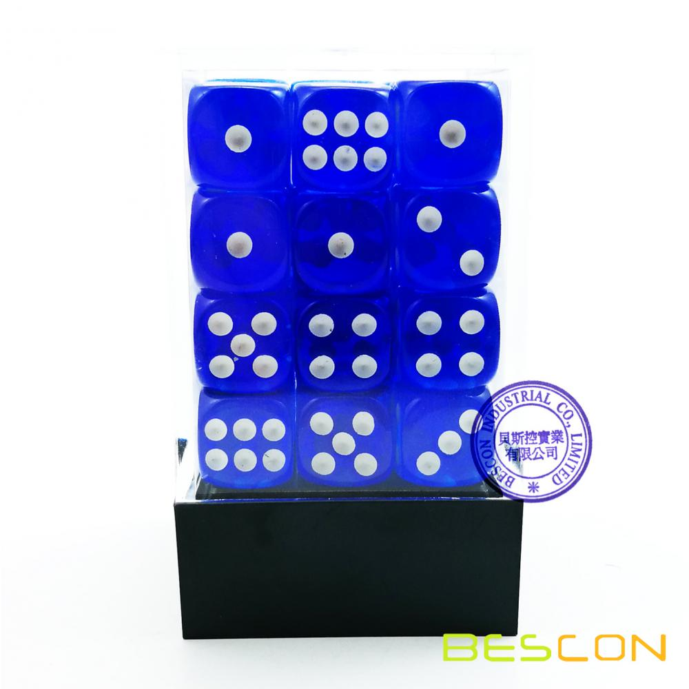 Bescon 12mm 6 Sided Dice 36 in Brick Box, 12mm Sechs Sided Die (36) Block of Dice, Translucent Loyal Blue mit weißen Pips