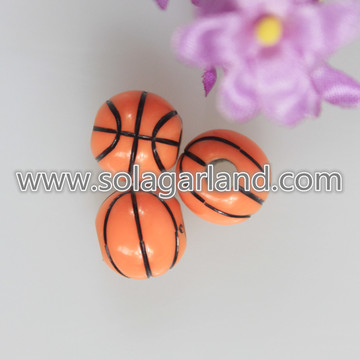 12MM Acrylique Orange et Black Basketball Team Sport Beads