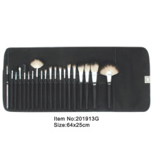 20pcs knurling plastic handle makeup tool set with black PU case