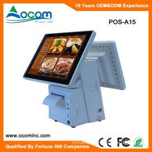 POS-A15 China supermercado barato restaurante android touch pantalla dual todo en un sistema pos con precio de venta al por menor de la impresora