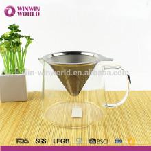 Cafetera de cristal de la serie clásica vendedora caliente con el goteador del café del acero inoxidable