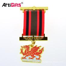 Réplica británica Medallas militares masónicas y cinta con pasadores de seguridad