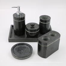 Juego de accesorios de baño de granito negro Dispensador de jabón / loción, portacepillos, vaso, salero y jabonera
