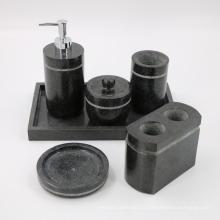 Ensemble d'accessoires pour salle de bains en granit noir, distributeur de savon / lotion, porte-brosse à dents, gobelet, porte-sel et porte-savon