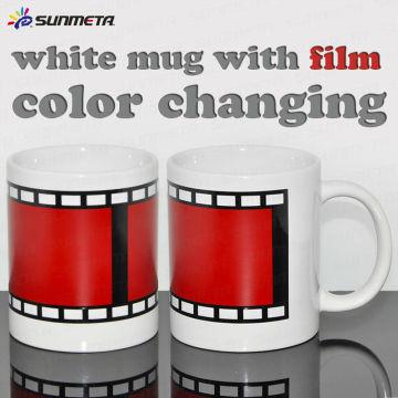 Cor da sublimação que muda a caneca de café em branco
