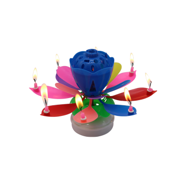 electronic fountain rotating magic flower music cake candle