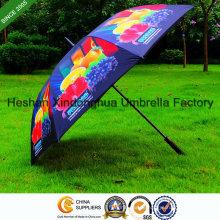 Volldruck-Fiberglas-windundurchlässiger Golf-Regenschirm mit Customerized Logo (GOL-0027FAC)