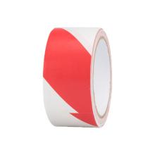 Fita adesiva de advertência de pvc com listras auto-adesivas em vermelho e branco e barata para piso