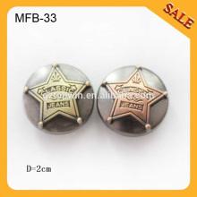 MFB33 Klassische Jeansl Western gute Pinsel Metall Jacke Knöpfe für Männer 20mm