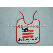 China manufacturer logo printed 100% cotton baby bibs