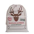 2017 Leinentasche Santa Sack für Geschenke und Geschenke Günstige Preis Elch gedruckt Baumwolle Weihnachtsgeschenk Tasche Großhandel