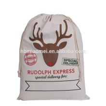 2017 Холщовый мешок Санта мешок для подарков и подарки дешевой цене лось ситца Рождественский подарок сумка оптовая