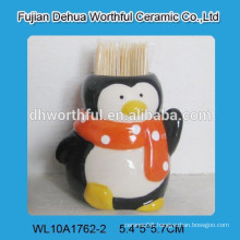 Factory directly ceramic toothpick holder with penguin figurine