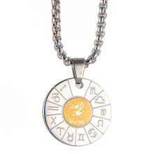 Fashion Mens Round Twelve Constellations Necklace