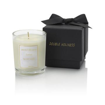 popular luxury box glass shape oil perfume candle