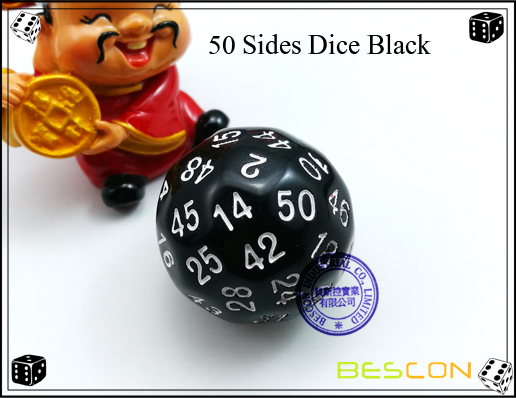 50 Sides Dice Black