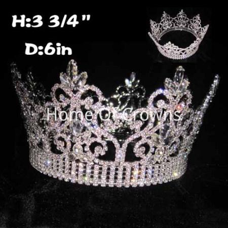 Coroas de Rainha Redondas Completas de Cristal Exclusivas por Atacado