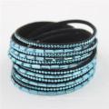 Горячие продажи Rhinestone Velvet кожа Кристалл Wrap Deluxe браслеты