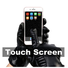 Genuine leather Modern Style Touch Screen Warm Gloves