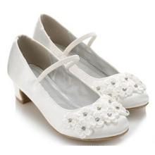 Späteste Kindermädchen weiße Blumen-Absatzschuhe für Kinder Großverkauf