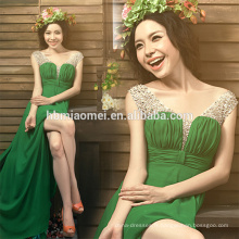 dernières plissées design mode femmes vêtements spaghetti sangle maxi chiffon eveing robe