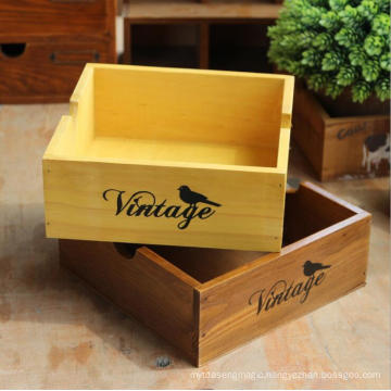 Wooden Multifunctional Desk Box Flowers Small Planter Display Box