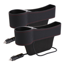 Microfiber Leather Car Side Organizer Storage Box With USB Charging Port Car Seat Gap Filler