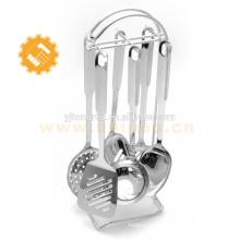 yangjiang private label aço inoxidável 6 peça por atacado utensílios de cozinha com suporte