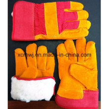 Winter Leather Work Gloves, Winter Working Glove, Cow Grain Leather Fleecy Lined Winter Warm Working Gloves