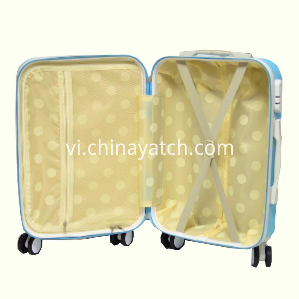 Bright Contrast Color ABS Luggage with 4 Row Wheels